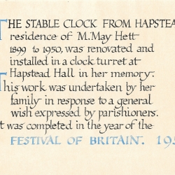 Stable Clock from Hapstead House to Hapstead Hall 1951